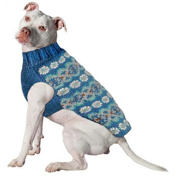 Teal Fairisle Alpaca Snowflake Hand Knit Dog Sweaters