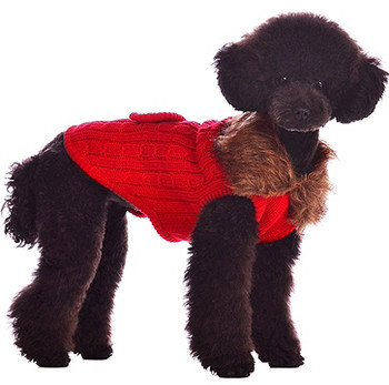 Luxy Fur Dog Sweater Coat - Red