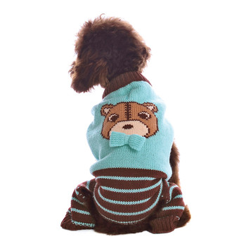 Cute Bear Dog Sweater Jumper - Blue