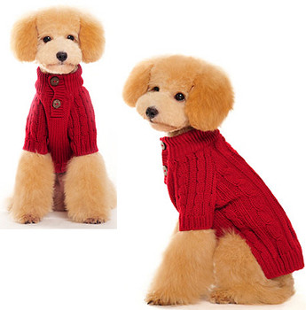 Classic Cable Knit Dog Sweater - Red