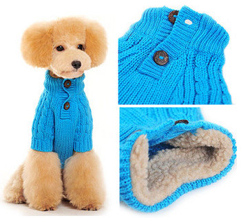 Classic Cable Knit Dog Sweater - Blue