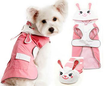 Cute Pink Bunny Dog Rain Coat