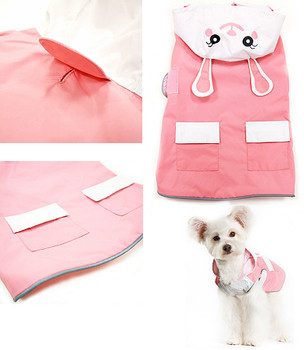 Cute Pink Bunny Dog Rain Coat