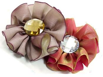 EasyBow Dog Collar Flowers - Taupe or Crimson
