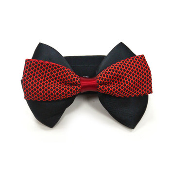 EasyBow Gentlemans Red & Black Bow Dog Collar Accessory