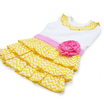 Yellow Sunshine Chevron Dog Dress