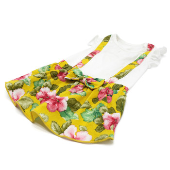 Yellow Floral Suspender Dog Dress