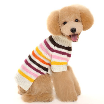 Colorful Stripe Dog Sweater - Pink