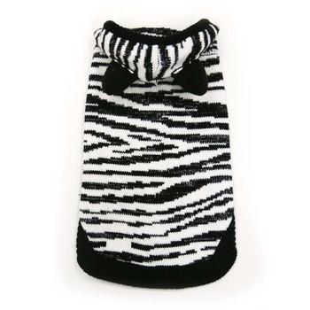 Silvery Zebra Hoodie Dog Sweater