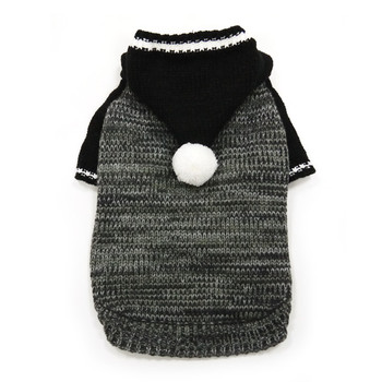 Contrast Hoodie Dog Sweater Black