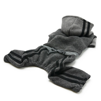 Gray Hooded Lounge Tracksuit Dog Activewear