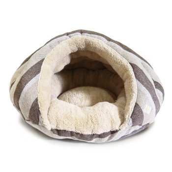 Burger Burrowing Pet Dog Bed - Brown Stripes