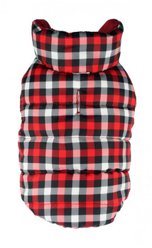 Gingham Reversible Dog Puffer Vest Coat - Red