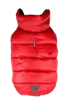 Gingham Reversible Dog Puffer Vest Coat - Red