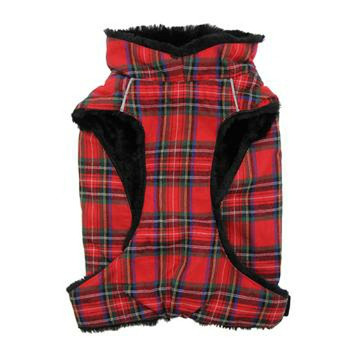 Red and Green Plaid Alpine Flannel Dog Coat - Size Medium