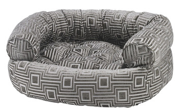 Cafe au Lait Micro Jacquard Double Donut Pet Dog Bed