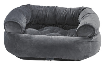Ash Microvelvet Double Donut Pet Dog Bed