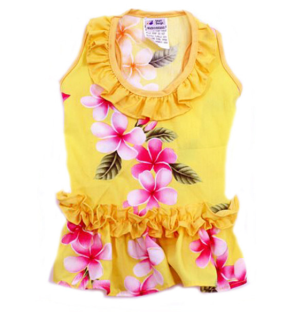 Yellow Plumeria Hawaiian Dog Dress