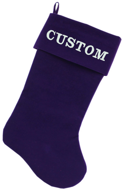 Custom Embroidered Velvet Christmas Stocking - Purple