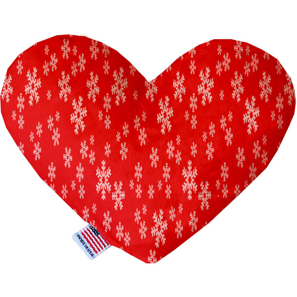 Red And White Snowflakes Heart Dog Toy, 2 Sizes