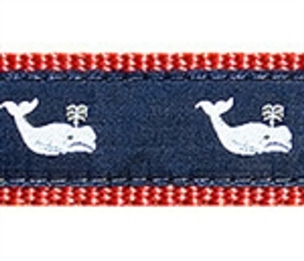 Whales White On Navy Dog Collars