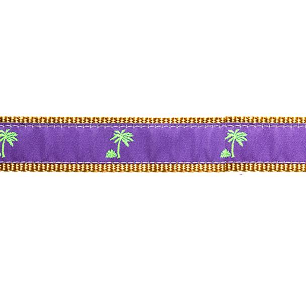 Purple Palm Tree 3/4 & 1.25 inch Dog Collar, Harness