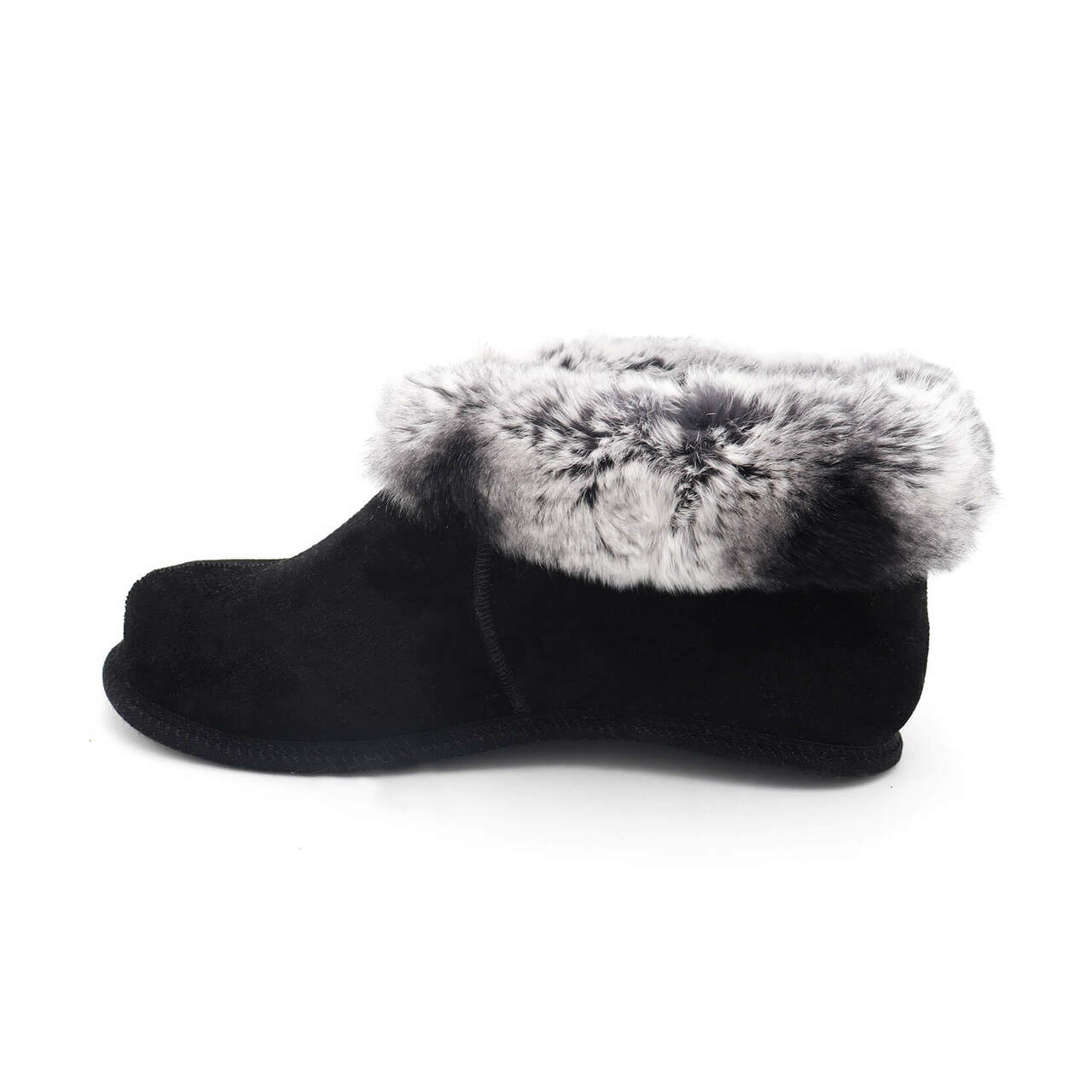 Soft Sole Shearling Slippers with Rex Rabbit Fur Trim