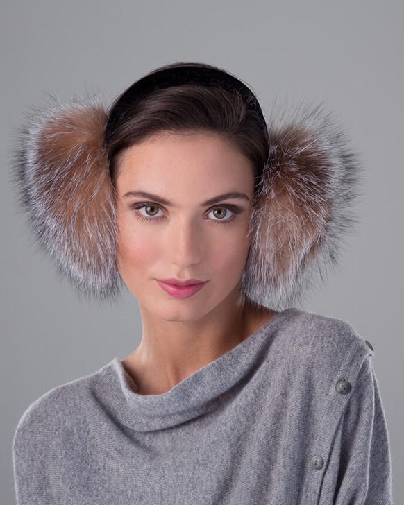 Fox Fur Earmuff with Velvet Band Crystal