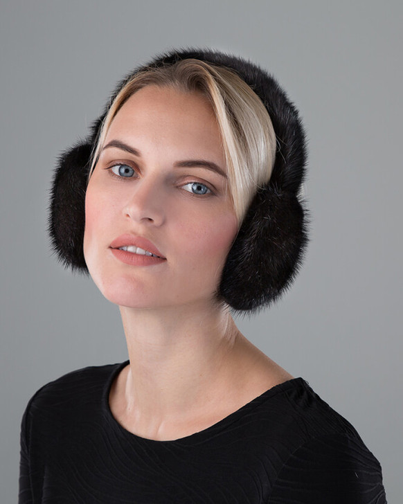 Mink Fur Earmuffs with Halo Band