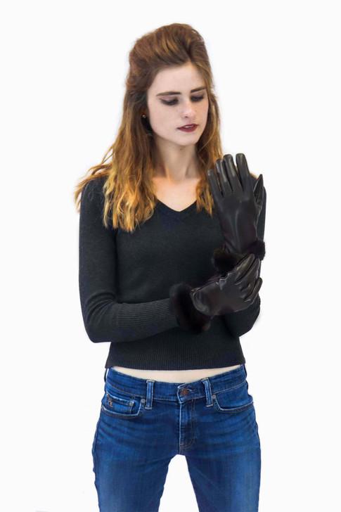 Leather Glove with Mink Fur Cuff