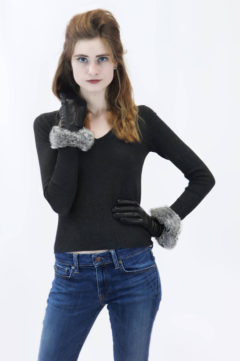 Leather Glove with Rabbit Fur in Chinchilla
