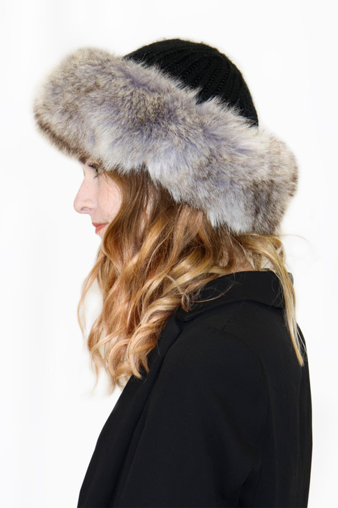 Knit Crown Hat with Faux Fox Fur Cuff