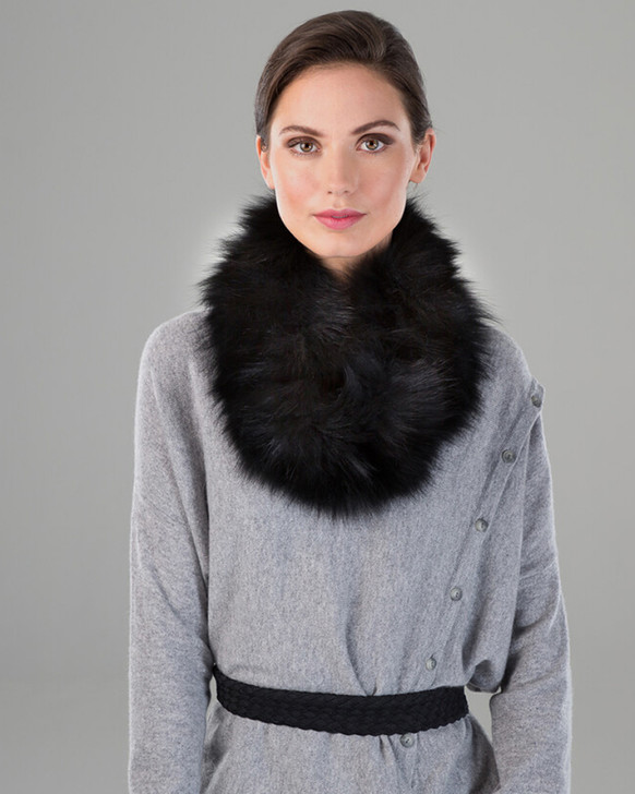 Fox Fur Textile Knit Neck Loop