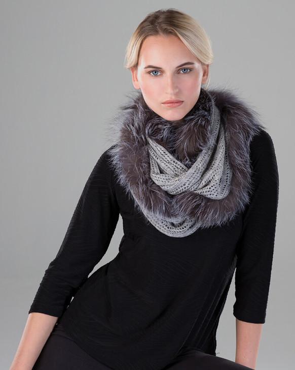 Knit Infinity Loop with Fox Fur Trim
