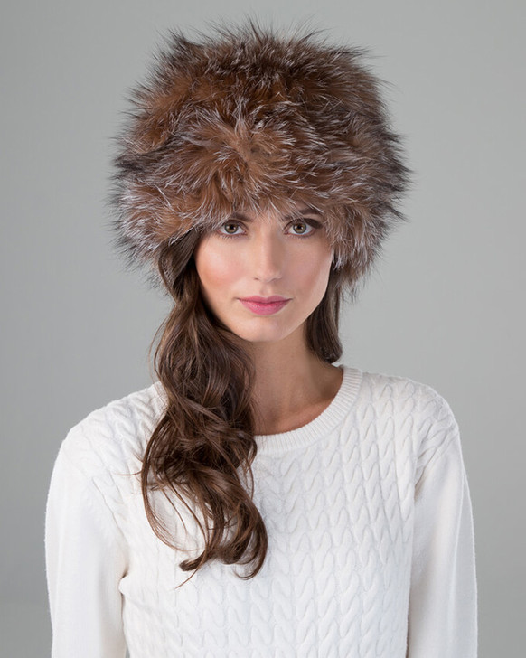 Fox Fur Knit Stretch Beanie