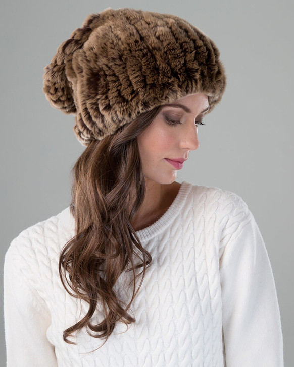 Golden Brown Slouch Hat on Model