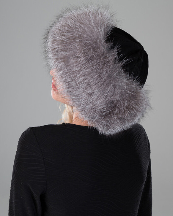 Fox Cuff Hat with Black Suede and Blue Frost Fur