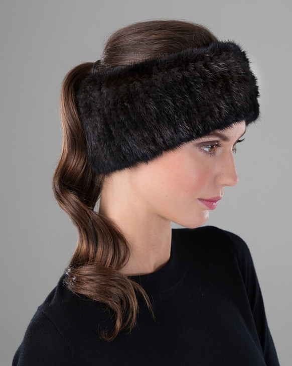 Mink Knit Headband in Black