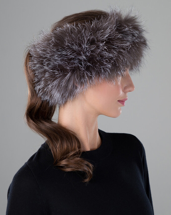 Blue Frost Fox Fur Knit Headband