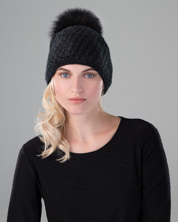 Black Knit with Black Fox Pom model shot