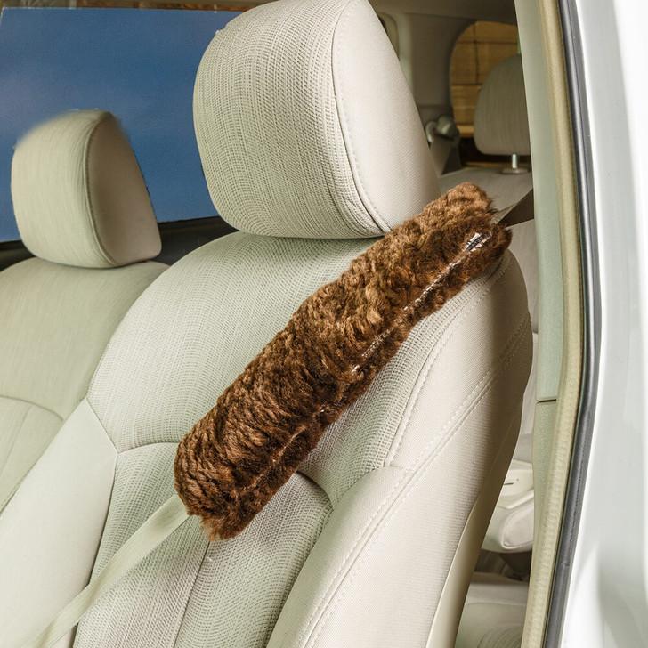 Shearling Lamb (Sheepskin) Seatbelt Cover in Brown