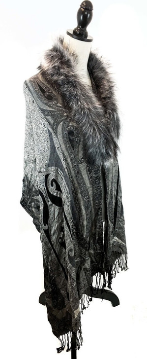"""Size: One Size – 77.5"""" long, 21"""" wide Color: Grey Paisley Details: Paisley Printed Wrap w/ Faux Fur Trim, with a hook and eye closure, fringed ends.  Dry clean only.   100% Acrylic"""
