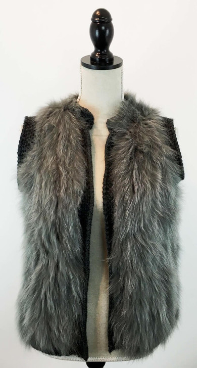 "Size: One size fits most.  Shoulder to hem: 24"", Chest: 38"", Waist: 36"", Hip: 36"" Color: Grey	 Details: Fox Textile Knit Open Knit Vest.  Shell: 100% Acrylic.  Trim: 100% dyed fox fur.  Fur origin: China–Real fur, dyed."