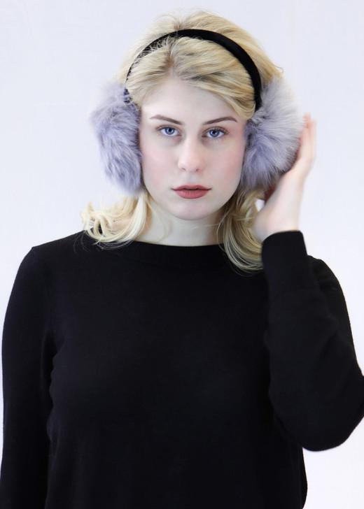 Faux Fox Earmuff with Velvet Band Grey
