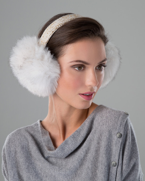 Faux Fox Fur Earmuffs with Bling Band