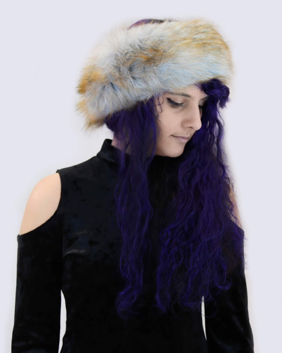 Faux Fox Headband with Velvet Lining in Grey Yellow Tip