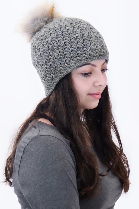 Star Knit Beanie with Faux Pom