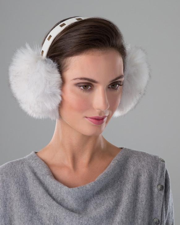 Faux Fox Fur Earmuffs with Studded Band