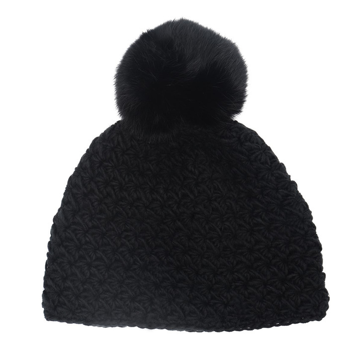 Children's Star Knit Hat with Rabbit Fur Pom