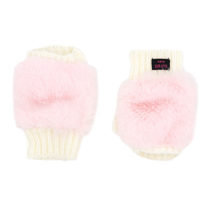 Children's Texting Mittens with Faux Rex Fur